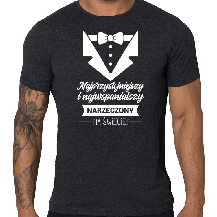 Koszulka dla Narzeczonego Przystojniaka (męska) biały nadruk