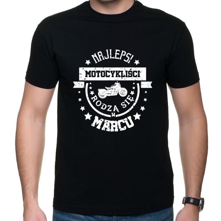 Koszulka Najlepsi motocykliści rodzą się w marcu 2 (męska) biały nadruk