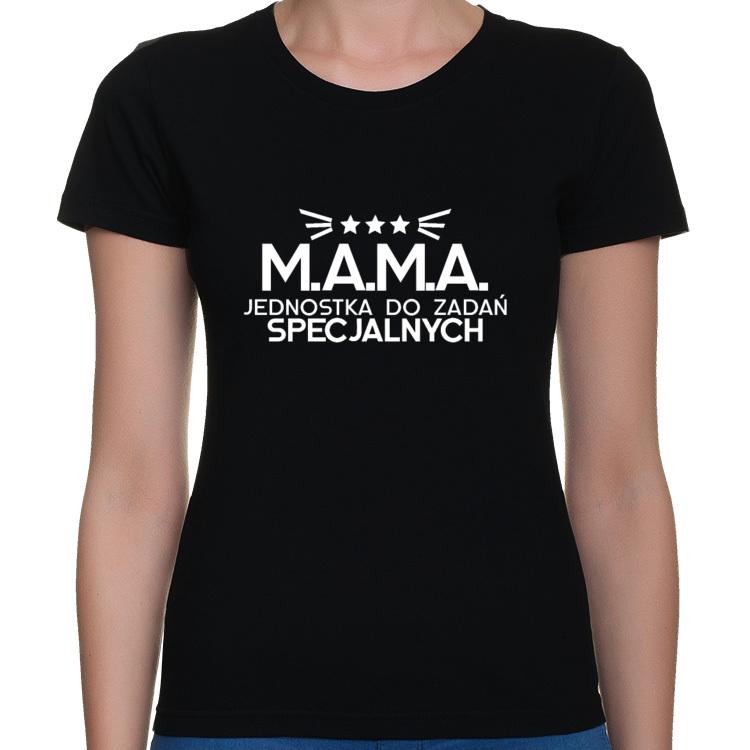Koszulka M.A.M.A Jednostka do Zadań Specjalnych - biały nadruk (damska)