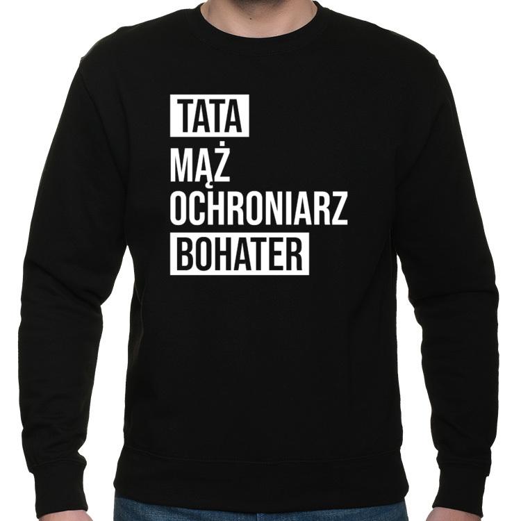 Bluza Klasyczna Tata Bohater (męska) biały nadruk