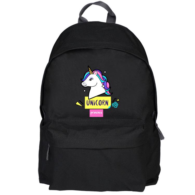 Czarny plecak - Unicorn princess