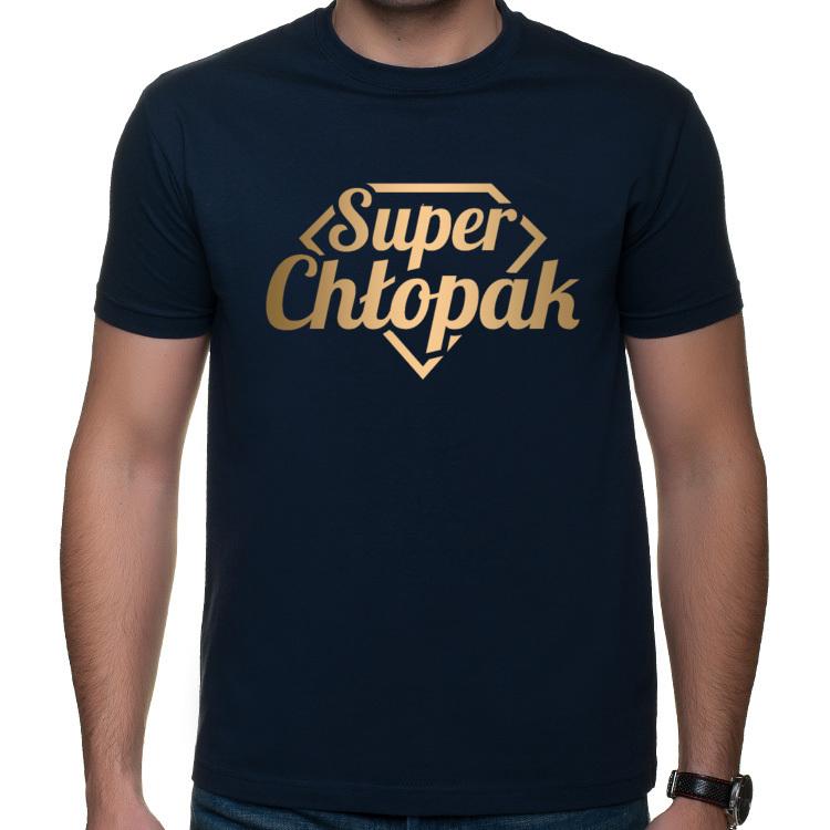 Koszulka Super Chłopak (męska) złoty nadruk